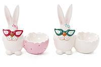 Декоративная керамическая статуэтка с подсвечником Кролик в очках, 2 вида, 12см