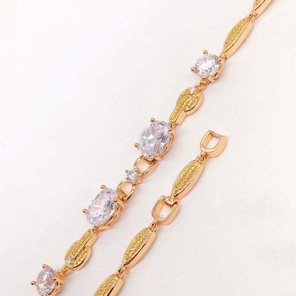 """Браслет Xuping Jewelry 18/19,5 см """"Полина"""" белый камень, медицинское золото, позолота 18К. А/В 2719"""