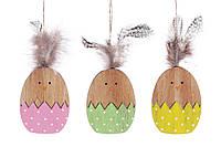 Набор (2шт) пасхальных украшений на подвесе Цыпленок 7см, 3 вида
