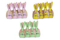 Набор (4шт) декоративных мини-прищепок Кролики, 7.7см, 3 вида
