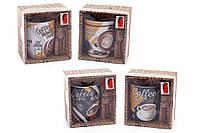 Кружка фарфоровая 350мл Coffee с коричневой ложкой в подарочной коробке, 4 вида