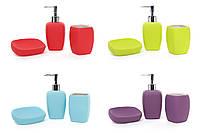Набор для ванной Модерн (3 предмета): дозатор, стакан для зубных щеток, мыльница, 4 цвета