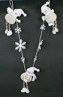 Гирлянда с фигруками Снеговиков и снежинками, 76см