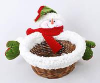 Корзинка декоративная Снеговик, 29см