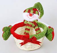 Корзинка декоративная Снеговик, 22см
