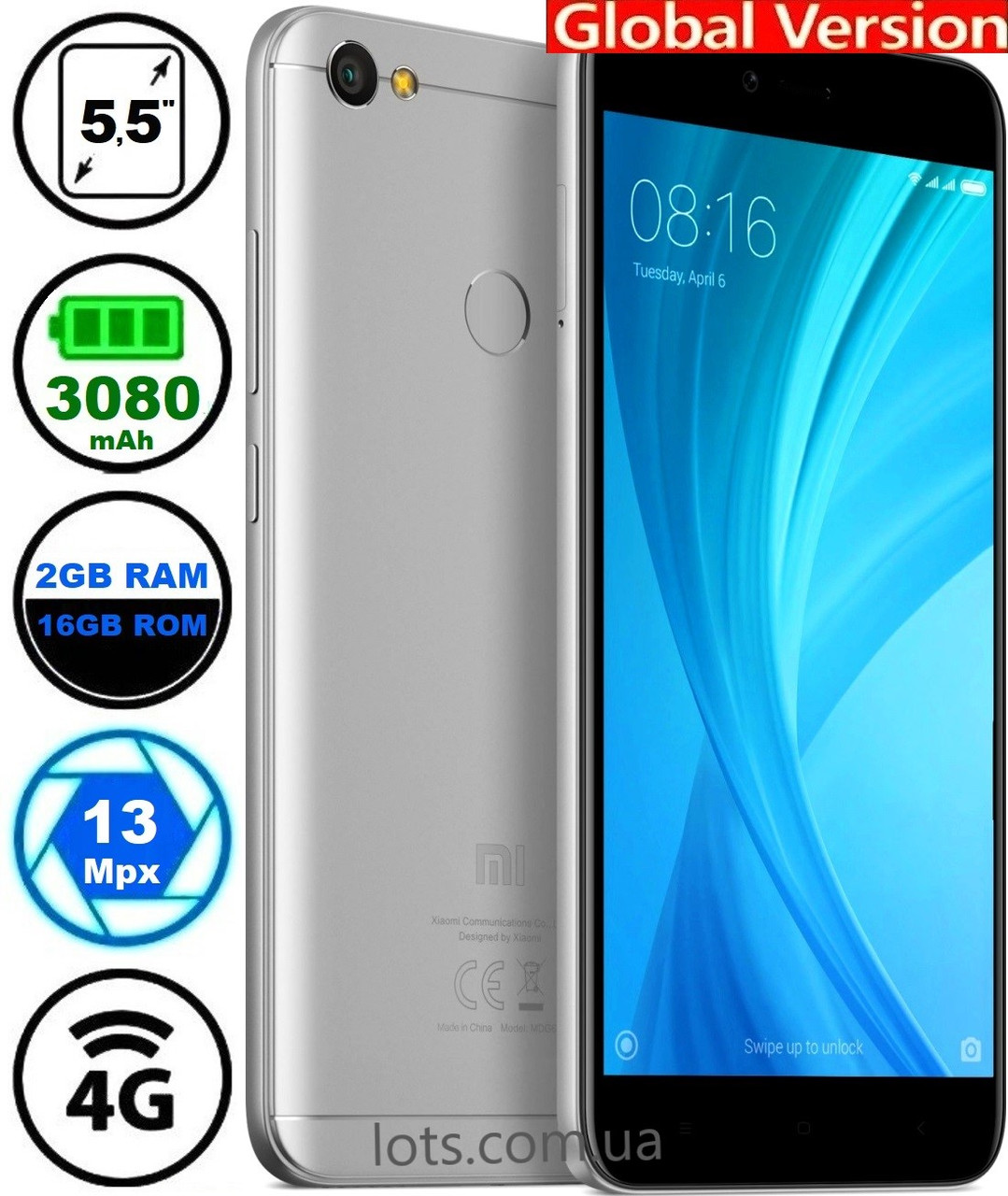 Смартфон Xiaomi Redmi Note 5A 2/16Gb Grey 4G Global