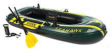 Двухместная надувная лодка Intex 68347 Seahawk 2 Set с веслами и насосом (236*114*41 см)