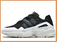 Женские кроссовки Adidas yung 96 black white (адидас янг 96, черные / белые)