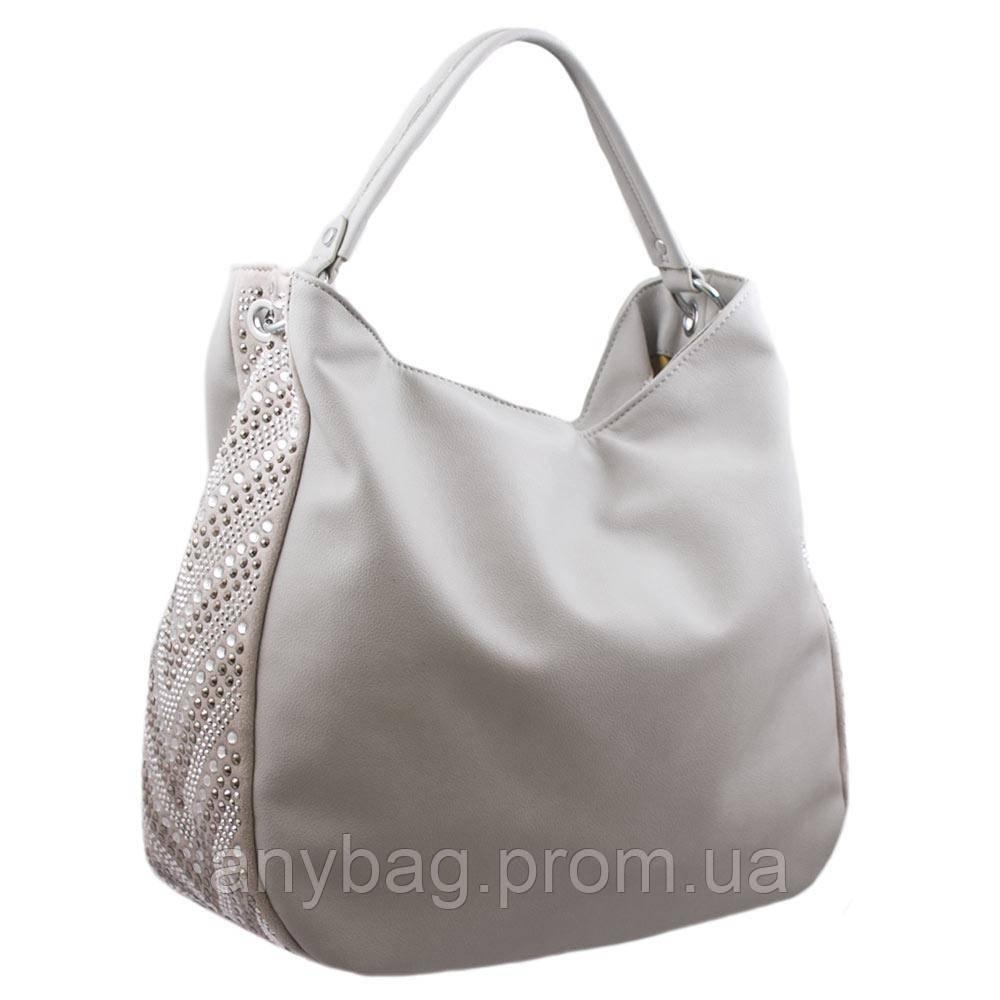 70a0b1b54c77 Женская сумка-мешок на одной ручке со стразами из кожзаменителя NN  B-NN14655 серая