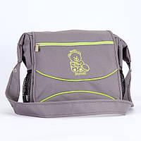 Сумка для коляски Baby Breeze 0350 графит с салатовым кантом