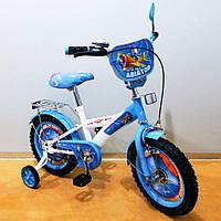 """Велосипед Tilly Авиатор 14"""" T-214210 white + blue с дополнительными колесами"""