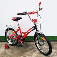 """Велосипед Tilly Explorer 18"""" T-21817 red + black с дополнительными колесами"""