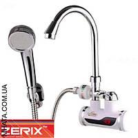 Электрический проточный водонагреватель Zerix ELW08-EPW c индикатором температуры с УЗО с лейкой на стенку 3 кВт