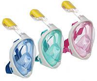 Детская панорамная маска для снорклинга Размер XS Розовый