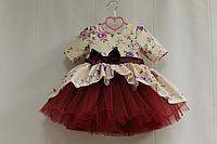 """Нарядное платье на девочку """"Сиреневая розочка"""" с рукавами и боровым фатином"""