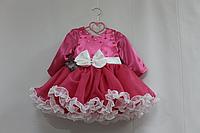 """Нарядное платье на девочку """"Малиновое с рюшиками"""" и рукавамии"""
