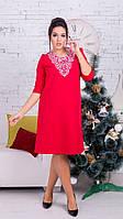 Женское ангоровое миди-платье красное 8148