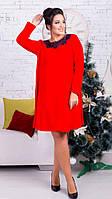 Женское ангоровое миди-платье красное 8146