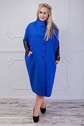 Женское кашемировое пальто с кожаными рукавами бежевое 8191