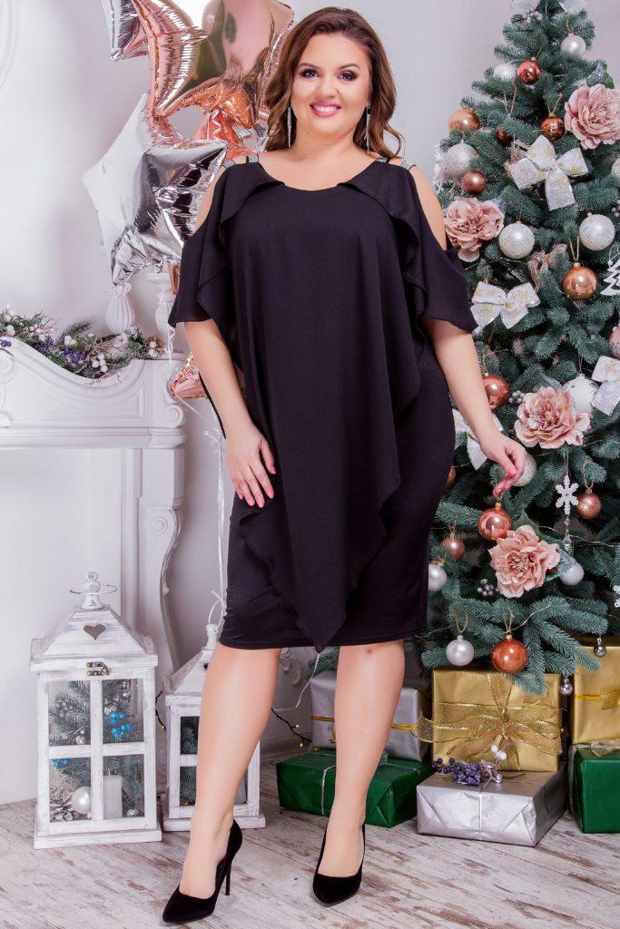 Женское платье легкое черное 8281