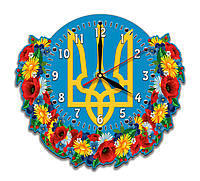 Часы патриотические Трезуб Украины, цветы 30*27 см