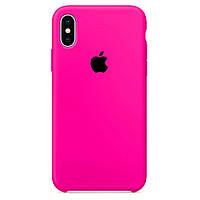 Чехол накладка xCase для iPhone XS Max Silicone Case Barbie pink с черным яблоком