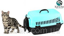 Контейнер-переноска для кошек Senyayla 50x36x33 см цвет-голубой