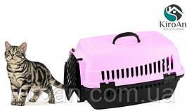 Контейнер-переноска для кошек Senyayla 50x36x33 см цвет-сиреневый