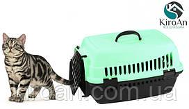 Контейнер-переноска для кошек Senyayla 50x36x33 см цвет-мятный