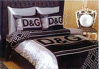 Комплект Атласного постельного белья Dolce & Gabbana с простынью на резинке
