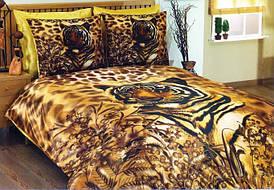 Комплект Атласного постельного белья Tiger 3D с простынью на резинке