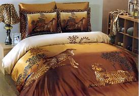 Комплект Атласного постельного белья Гепард 3D с простынью на резинке