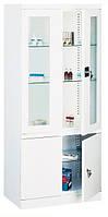 Шкаф медицинский металлический двухдверный с дополнительным отсеком Sml 114