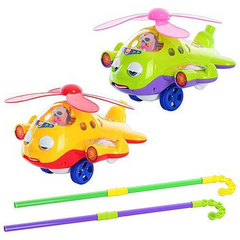 Игрушка каталка на палке, вертолёт, звук, закрывает глазки, двигает языком, фото 2