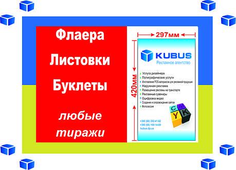 Формат А3 (2000 шт. Бумага Мелованная матовая, 350гр/м2, Защитный лак: матовый 1+1, 4 дня), фото 2