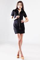 Платье черное короткое с молнией