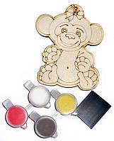 Заготовка для декорирования Атлас Новогоднее украшение Обезьянка (фанера) + 4 краски + магнит, 7х9см Н-0002