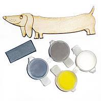 Заготовка для декорирования Атлас Такса (фанера) + 4 краски + магнит 10х3см Н-0019