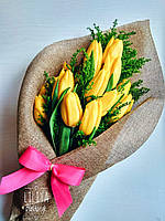 19  желтых тюльпанов