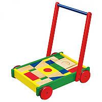 Ходунки-каталка Viga Toys Тележка с кубиками 50306B