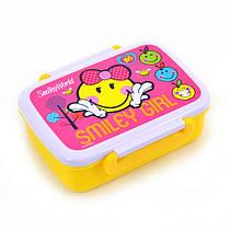 """Контейнер для їжі Yes Smiley World""""(pink) 420 мл з роздільником 706201"""