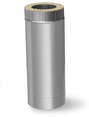 Дымоходная сэндвич труба с термоизоляцией L=1м 0,8 мм ф180/250 (двустенная труба нержавейка в оцинковке)
