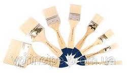 Кисть Щетина флейц №15 с деревянной короткой ручкой, 8043, Kolos