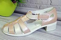 Босоножки кожаные на каблуке. Обувь от производителя., фото 1