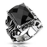 Мужской перстень из стали Spikes R-Q5196 с черным камнем