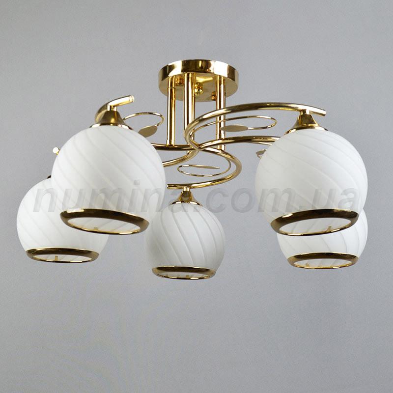 Люстра потолочная на 5 ламп белая с золотым корпусом  QH-N1401/5
