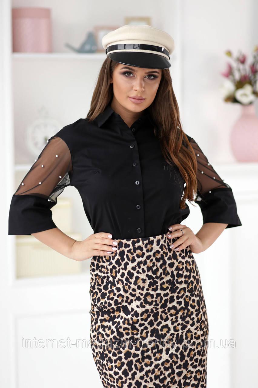 Женская блуза декорирована бусинками на рукавах (3 цвета) Р50364099