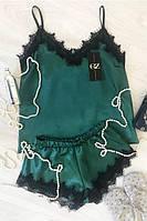 Шелковый комплект шорты с майкой,зеленый 42, 44, 46,48