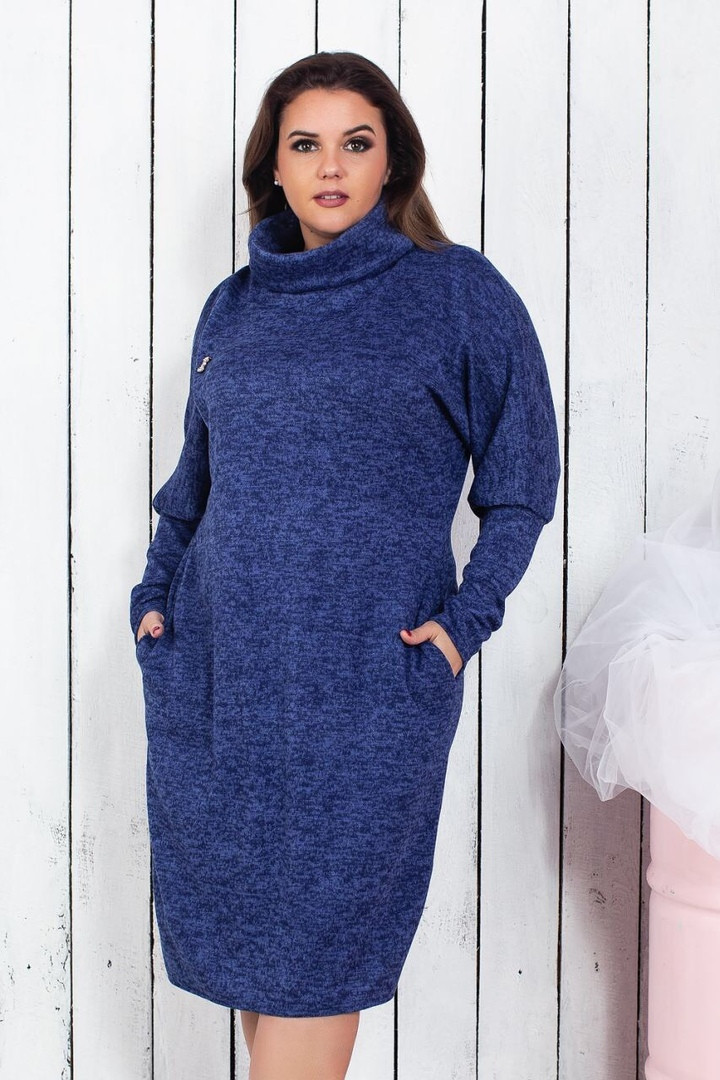 """Прямое ангоровое платье """"STELLA"""" с брошью и карманами (большие размеры)"""