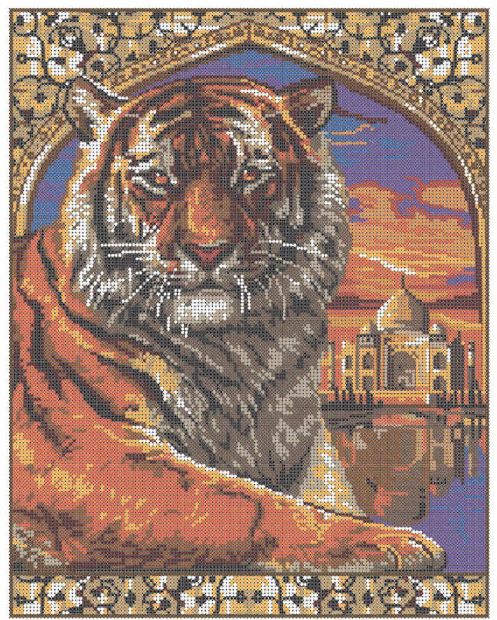 """Схема для полной зашивки бисером - """"Тигр и Тадж Махал"""""""